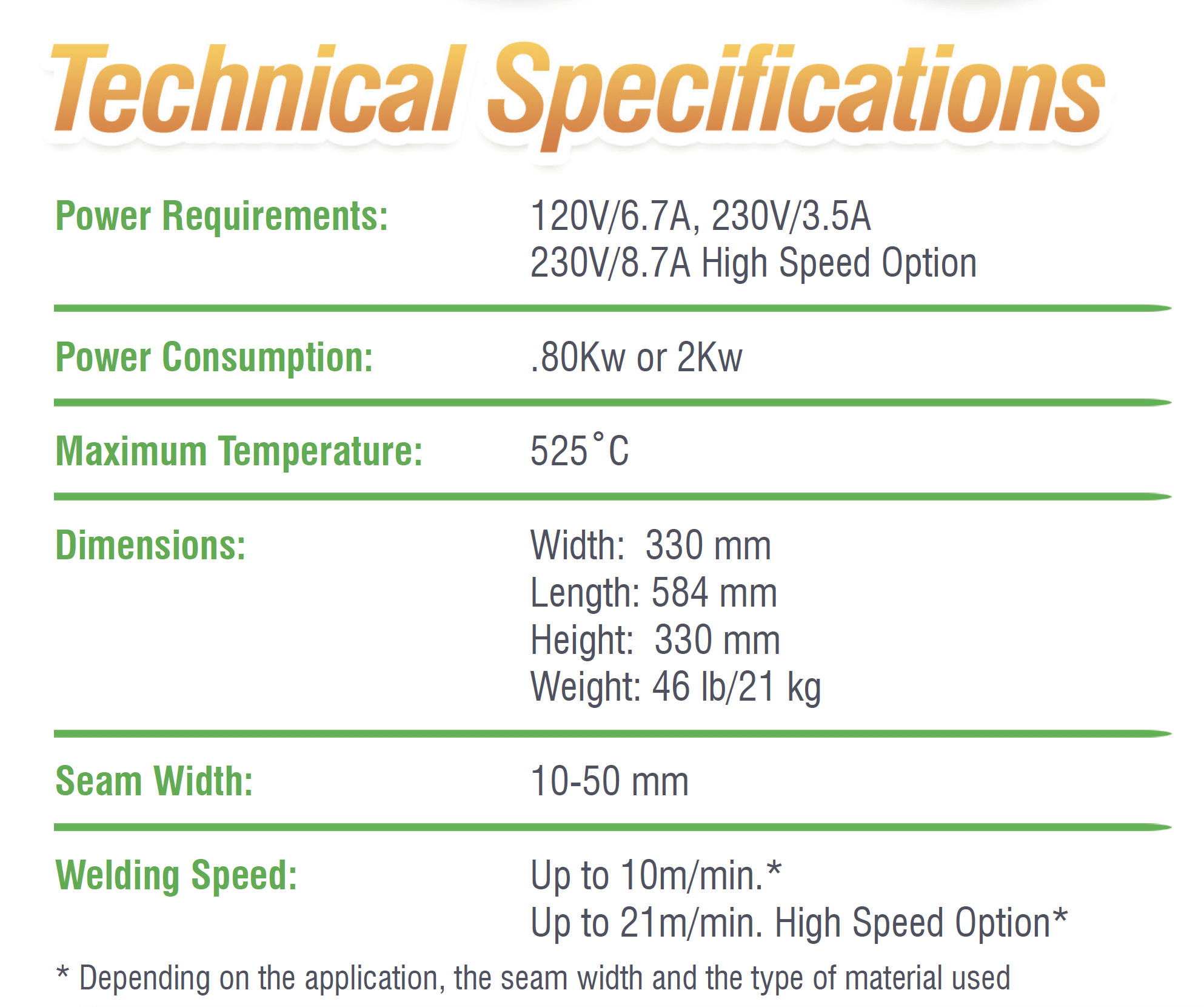 Spec Extreme Wedge Welder Technical Specifications