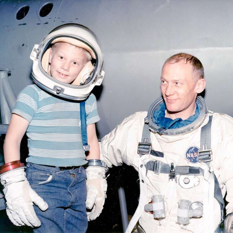 Andy, age ten, and his dad Buzz Aldrin during Apollo training. Photo: Buzz Aldrin