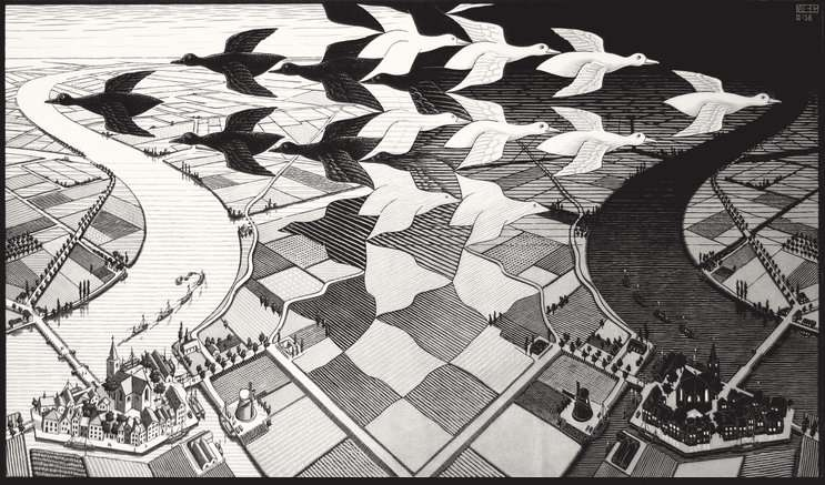 Image: Escher, Day and Night 1938 Woodcut, moartdeland.org