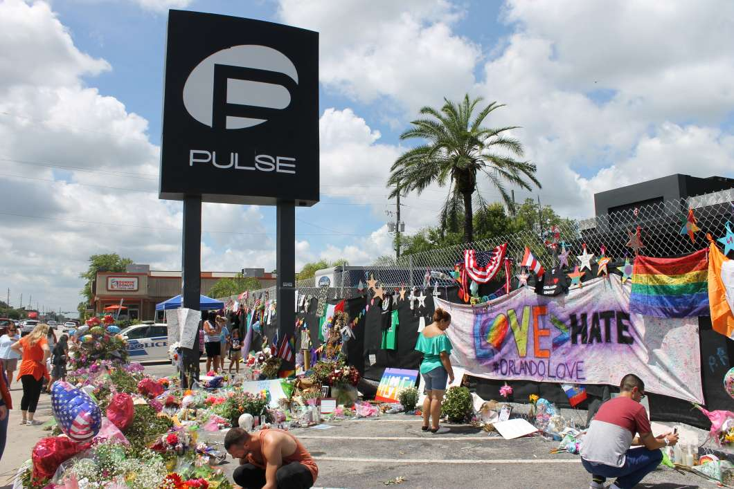 Visitors leave hand made memorials at the site of the Pulse nightclub, July 2016. Photo: Matthew Peddie, WMFE