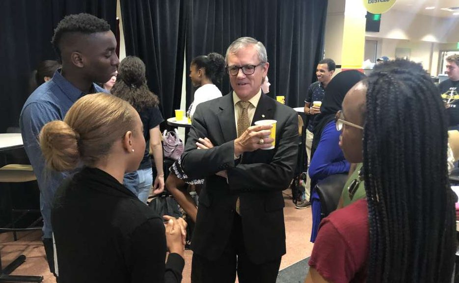 UCF's 5th President Dale Whittaker talks with students on July 2, 2018. Whittaker announced his resignation.  Photo: Christen Kelley