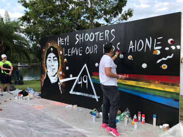 Manuel Oliver creates a mural that connects Pulse and Parkland victims.
