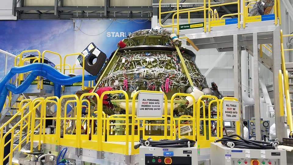 A Boeing CST-100 Starliner undergoing fit checks at a facility at Kennedy Space Center. Photo: Brendan Byrne / WMFE