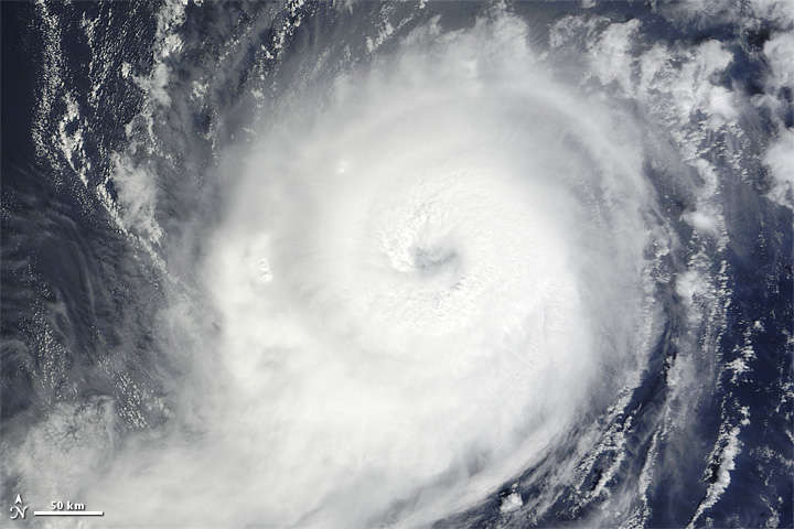 Satellite picture of Hurricane Michael via NASA Earth Observatory