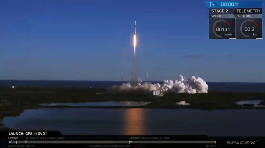 SpaceX launches the Air Force's GPS III satellite from Cape Canaveral, Florida. Photo: SpaceX