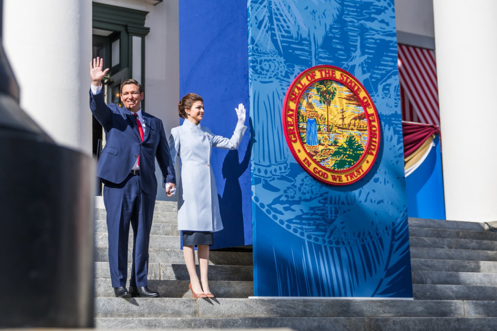 Governor Ron DeSantis along with First Lady Casey DeSantis, at his inauguration in Tallahassee. Photo: Ron DeSantis / Twitter