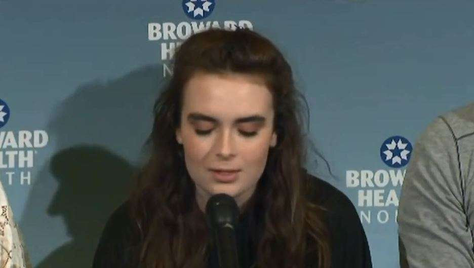 """Parkland shooting survivor Maddy Wilford, talking to the media at a press conference. Image from the trailer for """"Parkland: Inside Building 12"""""""