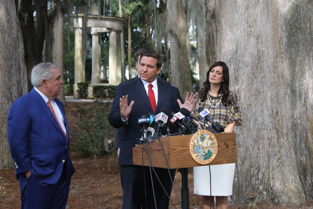 Gov. Ron DeSantis at a press conference in Winter Park in January announced a change in the state's approach to smokable medical marijuana. Photo: Christian Simmons, WMFE