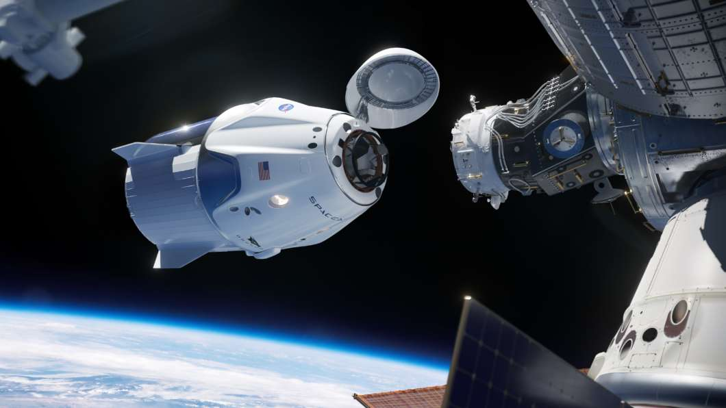 Artist's conception of SpaceX Crew Dragon docking to the International Space Station. Photo: NASA