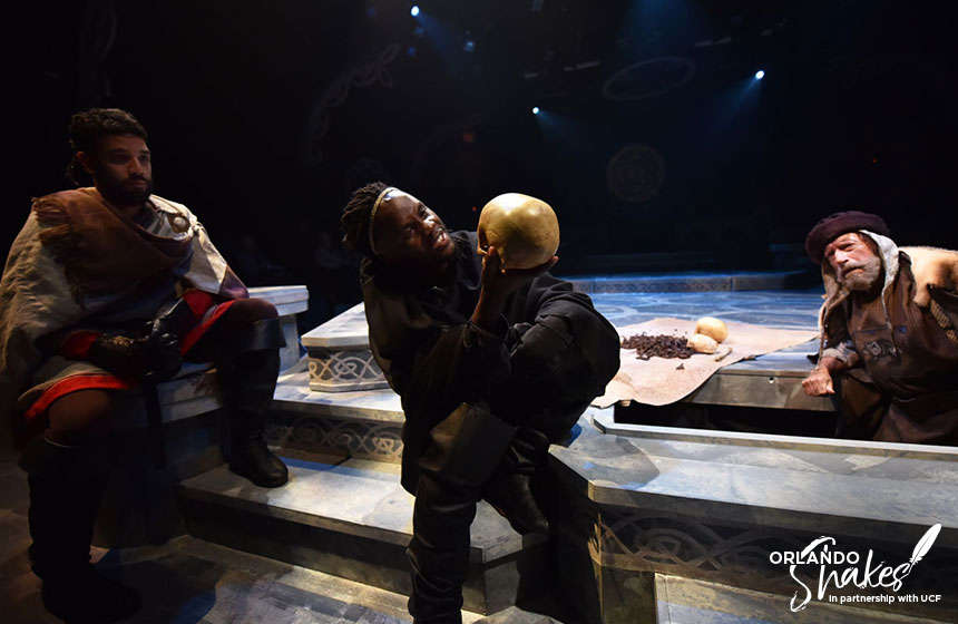 Rudy Roushdi, Junior N'yongo, and Greg Thornton perform in Orlando Shakespeare Theater's production of Hamlet. Photo courtesy of Orlando Shakespeare Theater