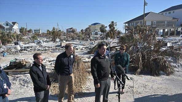 Gov. Ron DeSantis tours the destruction from Hurricane Michael in Mexico Beach in January. photo: Governor Ron DeSantis