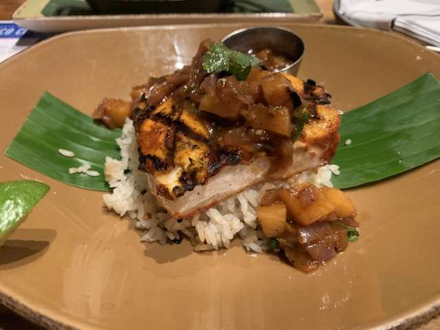 The first of the seasonal entrees we sampled was the Swordfish al Pastor, grilled fillets seasoned with garlic, achiote and red chile and topped with a smoked pineapple salsa heated up with a bit of chipotle. Photo: Scott Joseph