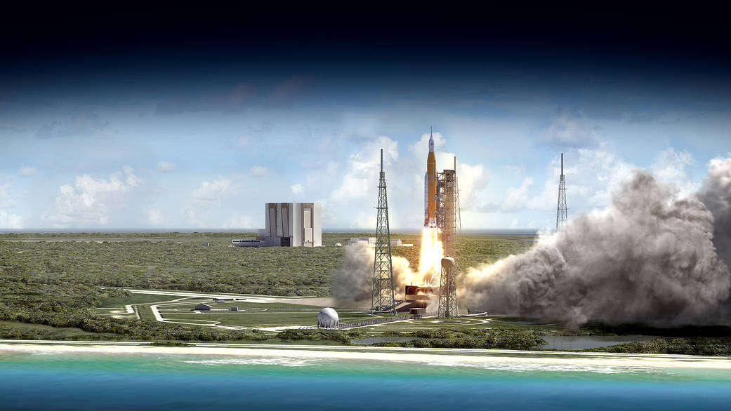 Artist's impression of the SLS launchin from Kennedy Space Center. Image: NASA