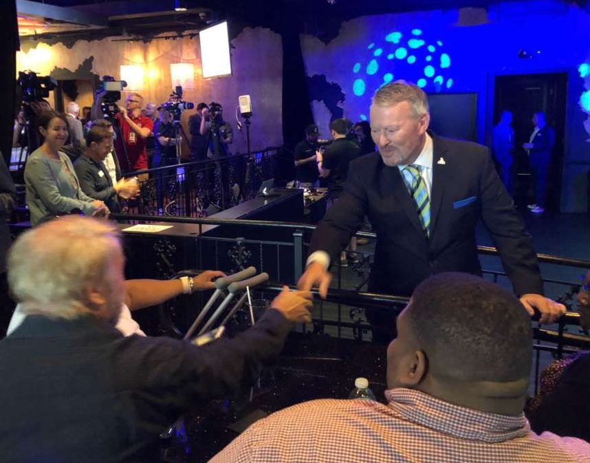 Mayor Buddy Dyer greets a supporter at his re-election launch party at the Abbey in downtown Orlando. Photo: Emily Lang, WMFE