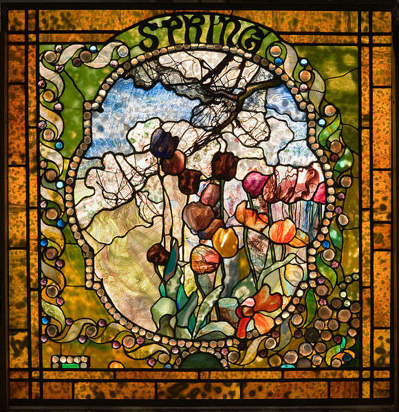Spring panel from the Four Seasons leaded glass window by Louis Comfort Tiffany. Photo courtesy of Wikimedia Commons