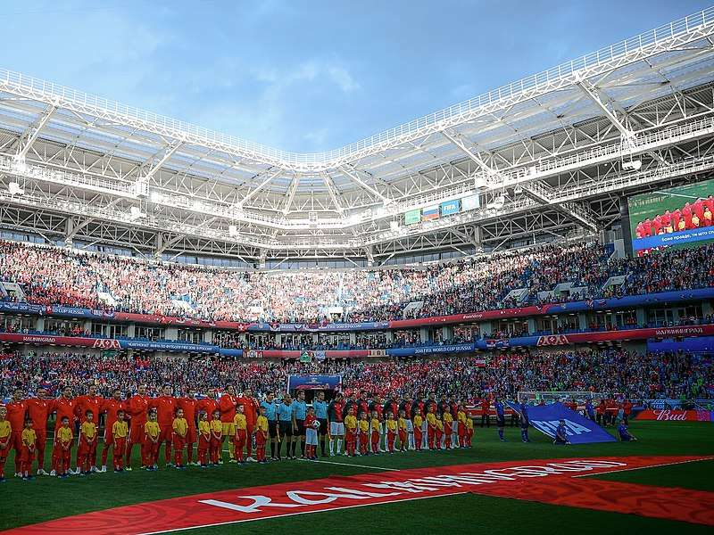 A 2018 FIFA World Cup match between the national teams of Serbia and Switzerland at Kaliningrad Stadium. Photo courtesy of Wikimedia Commons