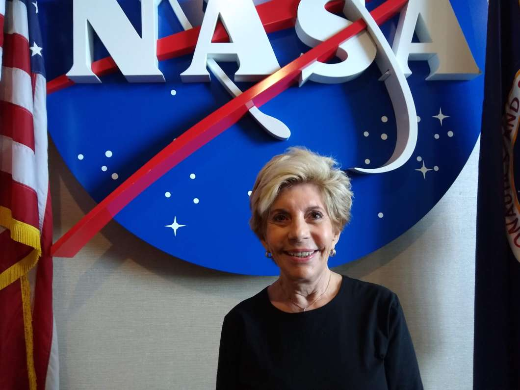 Nancy Conrad at the Kennedy Space Center Visitor Complex during this year's Conrad Challenge. Photo: Brendan Byrne / WMFE