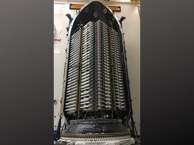 Sixty Starlink satellites are packed into the nosecone of SpaceX's Falcon 9 rocket ahead of a launch attempt from Cape Canaveral. Photo: Elon Musk / Twitter