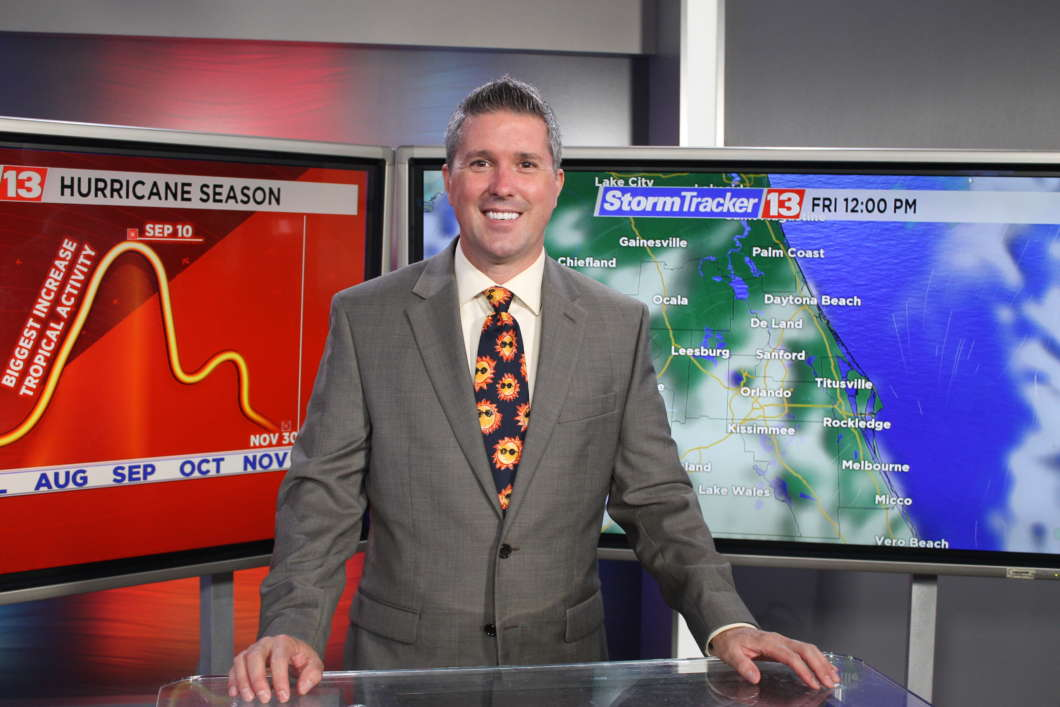 Spectrum News 13 chief meteorologist Bryan Karrick. Photo : Matthew Peddie, WMFE
