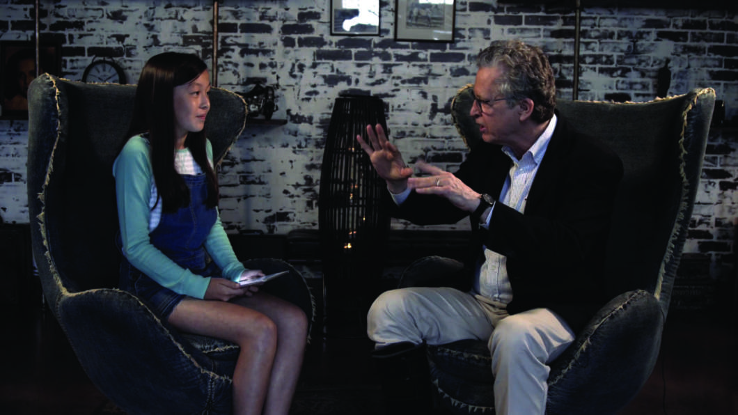 "Author Ridley Pearson during his interview on PBS's ""Kid Stew."" Photo courtesy of ""Kid Stew"""