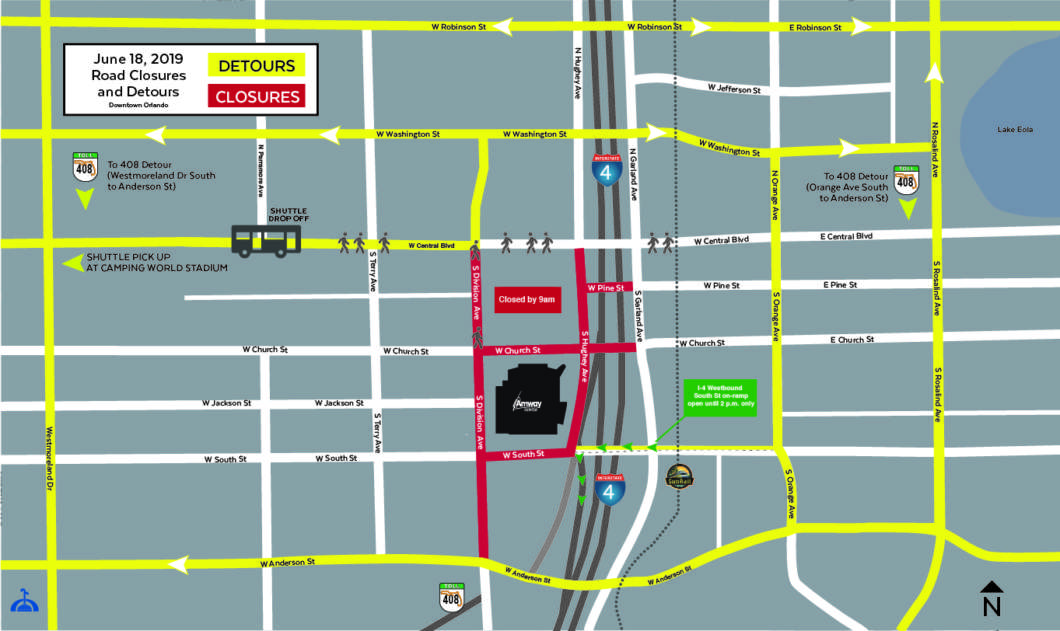 Road closures begin at 9 a.m. Tuesday for the Trump campaign's official kickoff.