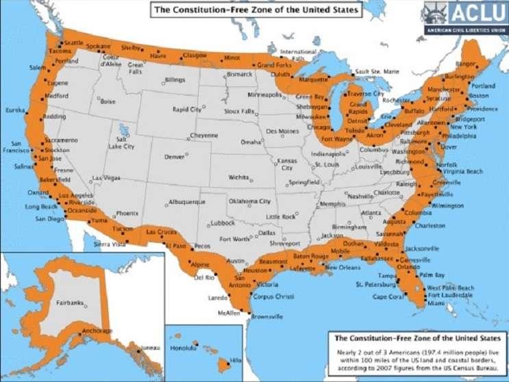 Image: border zone map, www.aclu.org