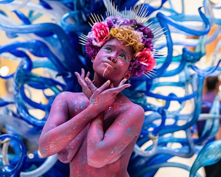Image: A member of the Rainbow Myriads at 'Indigenous Futurism,' Orlando Museum of Art, June 6 2019 – PHOTO BY MATT KELLER LEHMAN FOR ORLANDO WEEKLY
