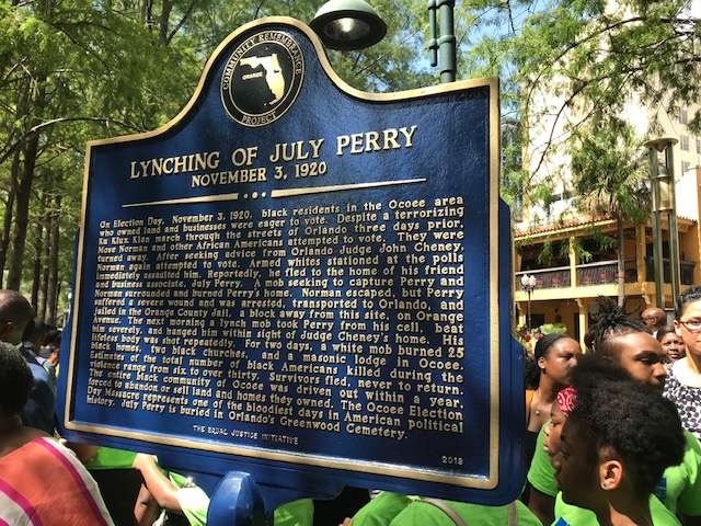 An historic marker commemorating July Perry was unveiled in Orlando Friday. Photo;: Danielle Prieur, WMFE