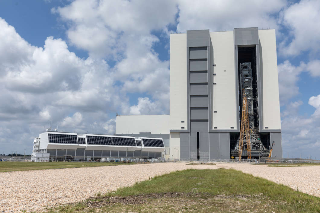 The firing room, mobile launcher and Vehicle Assembly Building all received upgrades ahead of NASA's next moon mission Artemis. Photo: Jim Hobart / WMFE