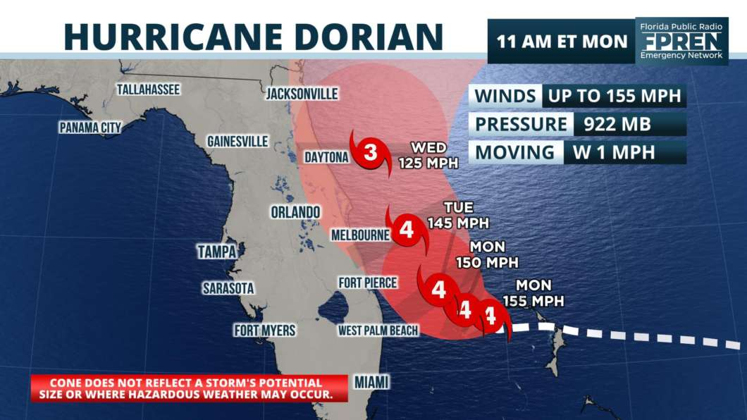 Dorian Reduced To Category 4 Outer Rain Bands Arrive In