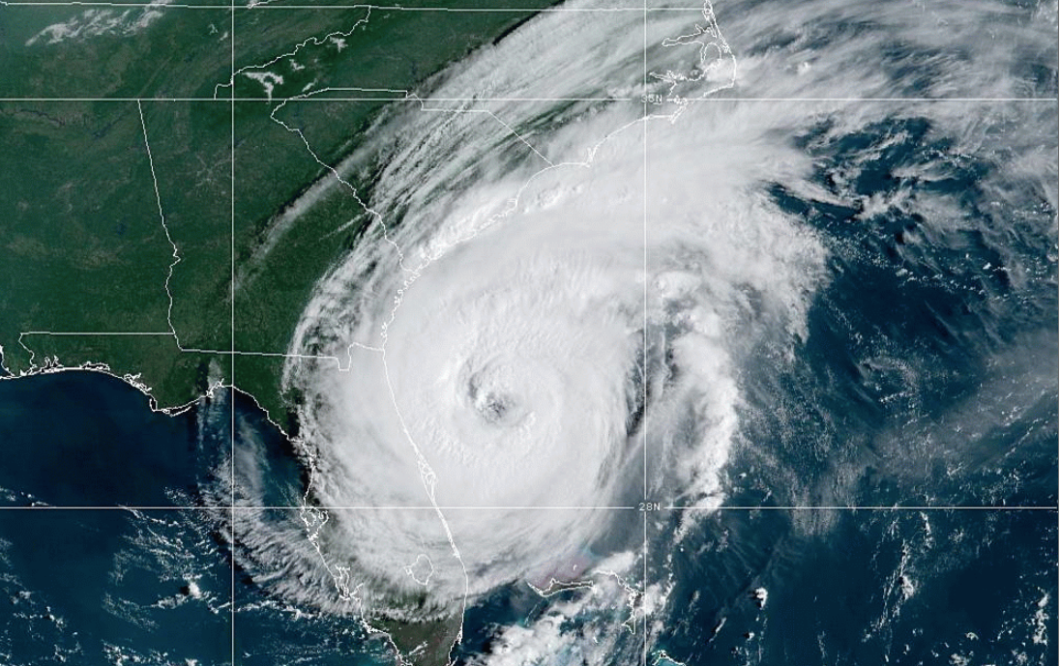 Hurricane Dorian vis NOAA satellite imagery.