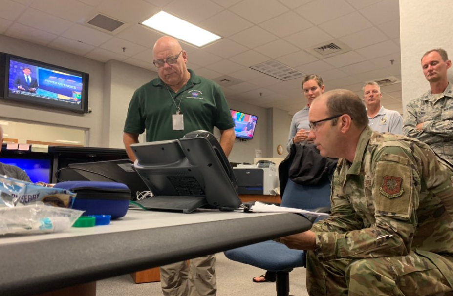 Emergency Management Officer Tim Moore and Brig. Gen. Doug Schiess monitor Kennedy Space Center as Hurricane Dorian grazed the space coast.