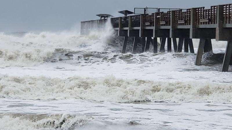 High surf pounds the Jacksonville Beach Pier during Hurricane Dorian on Wednesday. David Luckin/WJCT