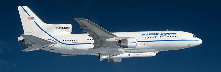 Northrop Grumman's Pegasus rocket hitches a ride on the belly of an aircraft. Photo: Northrop Grumman.