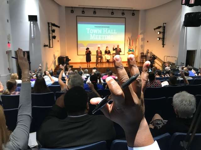 Attendees packed the UF IFAS auditorium for a transportation town hall. Photo: Danielle Prieur