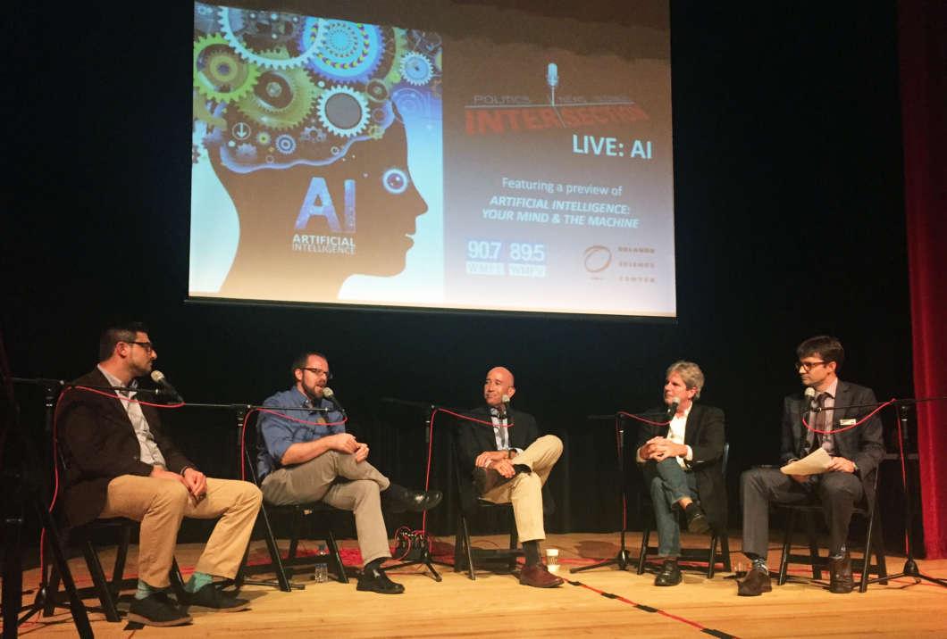 L- R: Jeremy Joseph; Dan Myers; Walt Wilson; HP Newquist; Matthew Peddie. Photo: Jenny Babcock, WMFE
