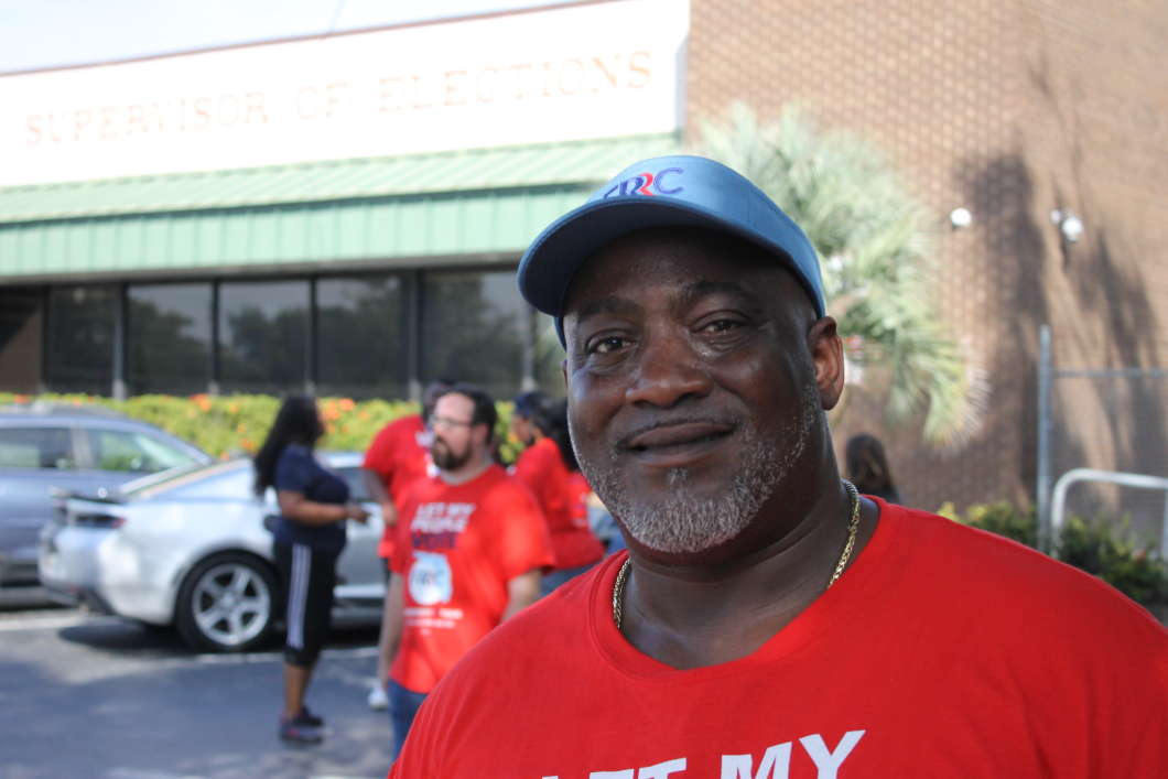 Desmond Meade at the Orange County Supervisor of Elections office in Orlando. Photo: Matthew Peddie, WMFE