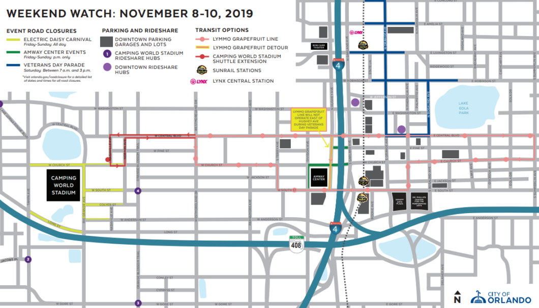 A map of this weekend's road closures via the City of Orlando website.