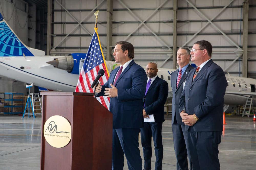 Governor Ron DeSantis announced a $3.9 million dollar grant at the airport. Photo: Governor Ron DeSantis Media Center
