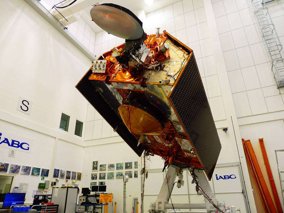 Sentinel-6A, the first of the mission's two satellites, is shown in its clean room in Germany and is scheduled to launch in November 2020. Photo courtesy IABG