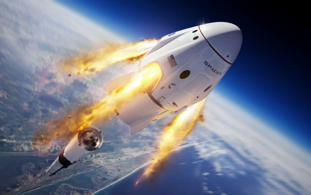 Rendering of Crew Dragon's abort system firing mid-flight. Photo: SpaceX / Twitter
