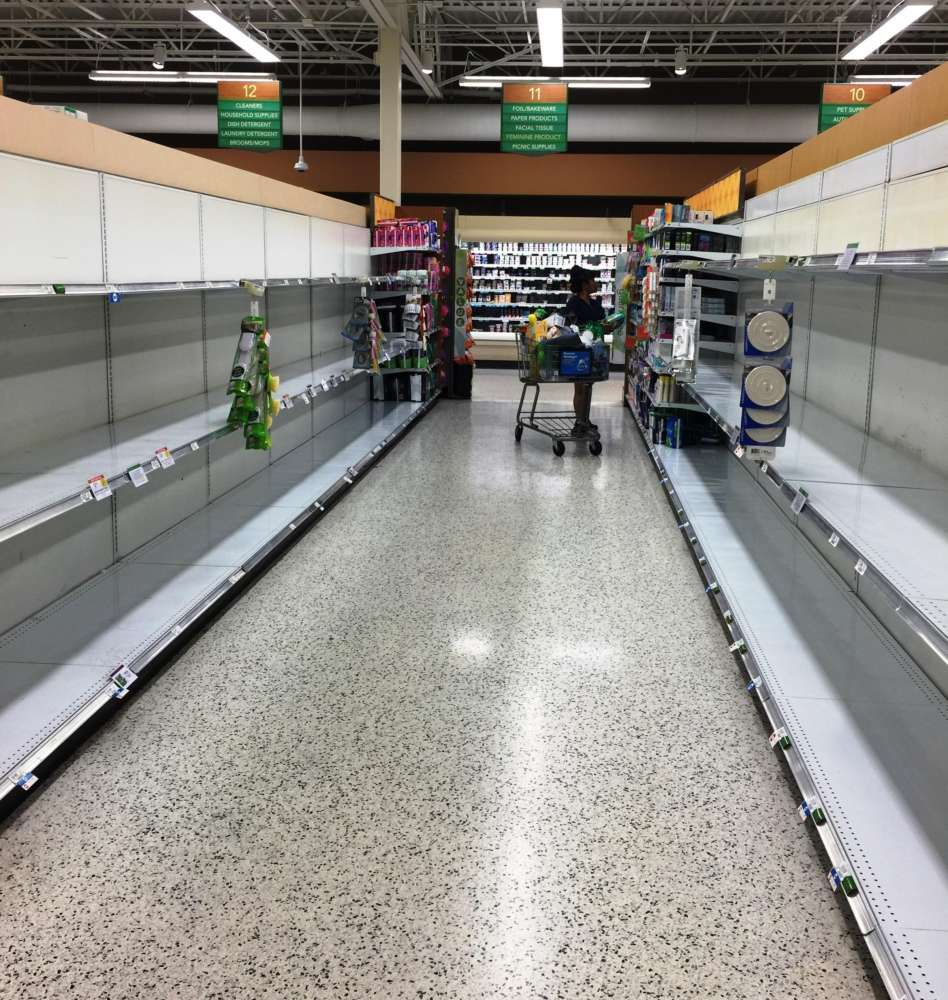 Toilet paper was gone from the shelves at the Publix on South Dale Mabry and West Neptune Street in South Tampa earlier this week. Credit: WUSF Public Media