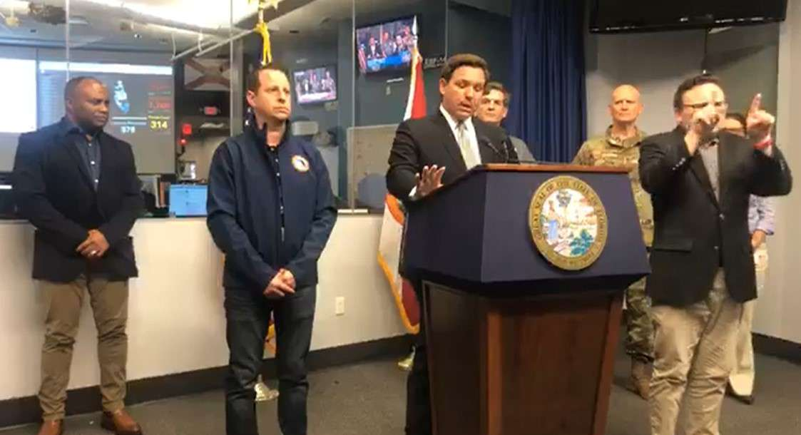 In this image from Facebook video, Gov. Ron DeSantis speaks at a press conference Wednesday afternoon.