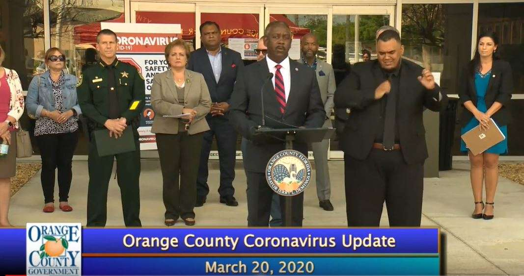 Mayor Jerry Demings addresses the media Friday March 20th, 2020. Demings has imposed a countywide curfew from 11pm to 5am beginning Friday night. Image: Orange TV