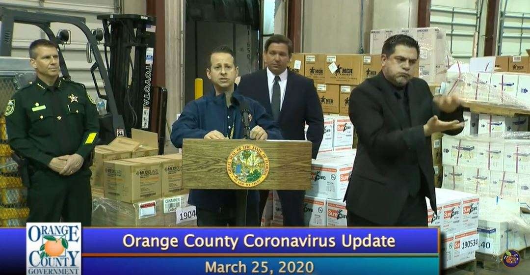 Jared Moskowitz, director of the Florida Division of Emergency Management, gives an update on personal protective equipment in Orlando, March 25th, 2020. Image: Orange TV