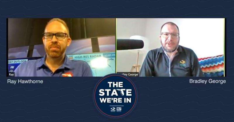 FPREN meteorologist Ray Hawthorne (left) speaks with host Bradley George about the possible shape of this year's hurricane season. / THE STATE WE'RE IN/FACEBOOK / WMFE AND WUSF PUBLIC MEDIA