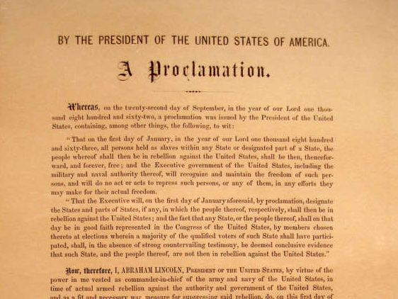 The Emancipation Proclamation issued by President Abraham Lincoln declared all slaves freed. (via wikimedia)