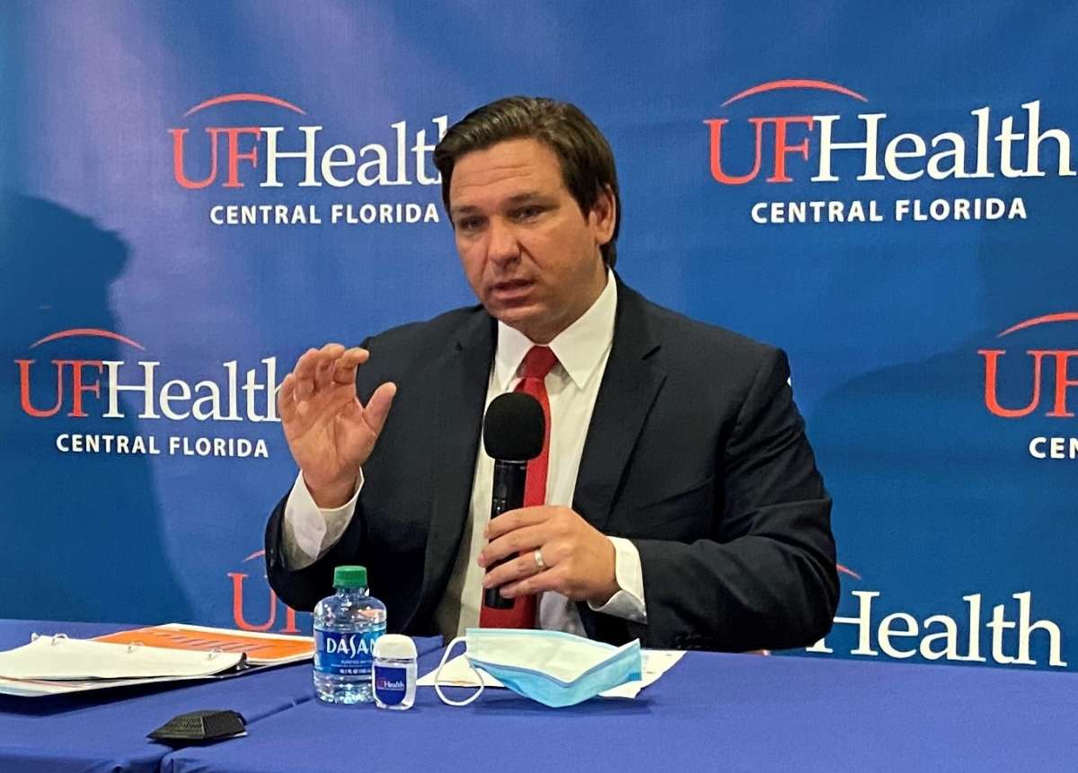 """Florida Gov. Ron DeSantis said he doesn't think President Trump was trying to minimize the coronavirus when he said 99 percent of cases are """"totally harmless."""" The governor said Florida has taken the virus seriously since the beginning. Photo: Joe Byrnes"""