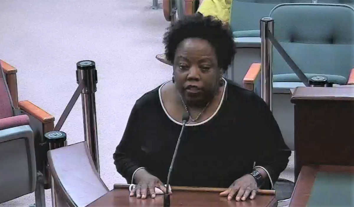 Mae Hazelton thanked Lake County commissioners for rejecting a Confederate statue that was to be placed in the county history museum. Image: Lake County via video