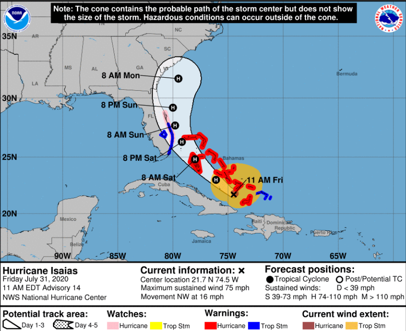 Hurricane Isaias as of 11 a.m. July31, 2020 via The National Weather Service